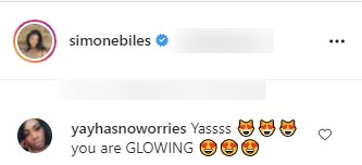 A fan's comment on Simone Biles' post on Instagram | Photo: Instagram/simonebiles