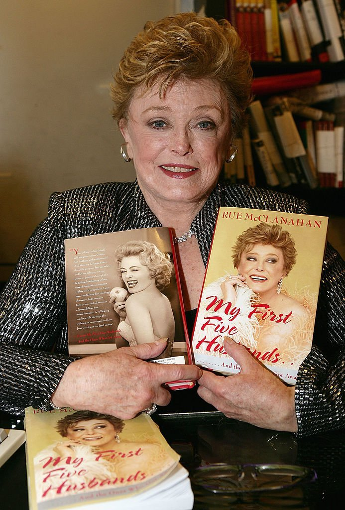 "Rue McClanahan poses with her new book, ""My First Five Husbands"" 
