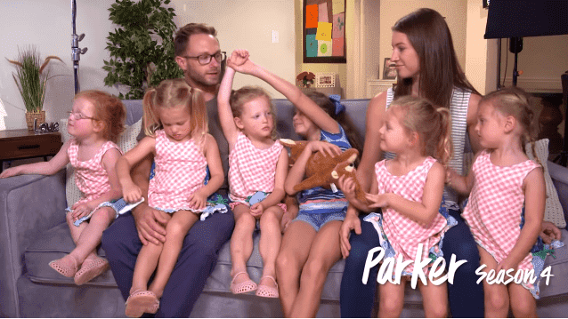 "The Busby family during an episode of ""OutDaughtered"" 