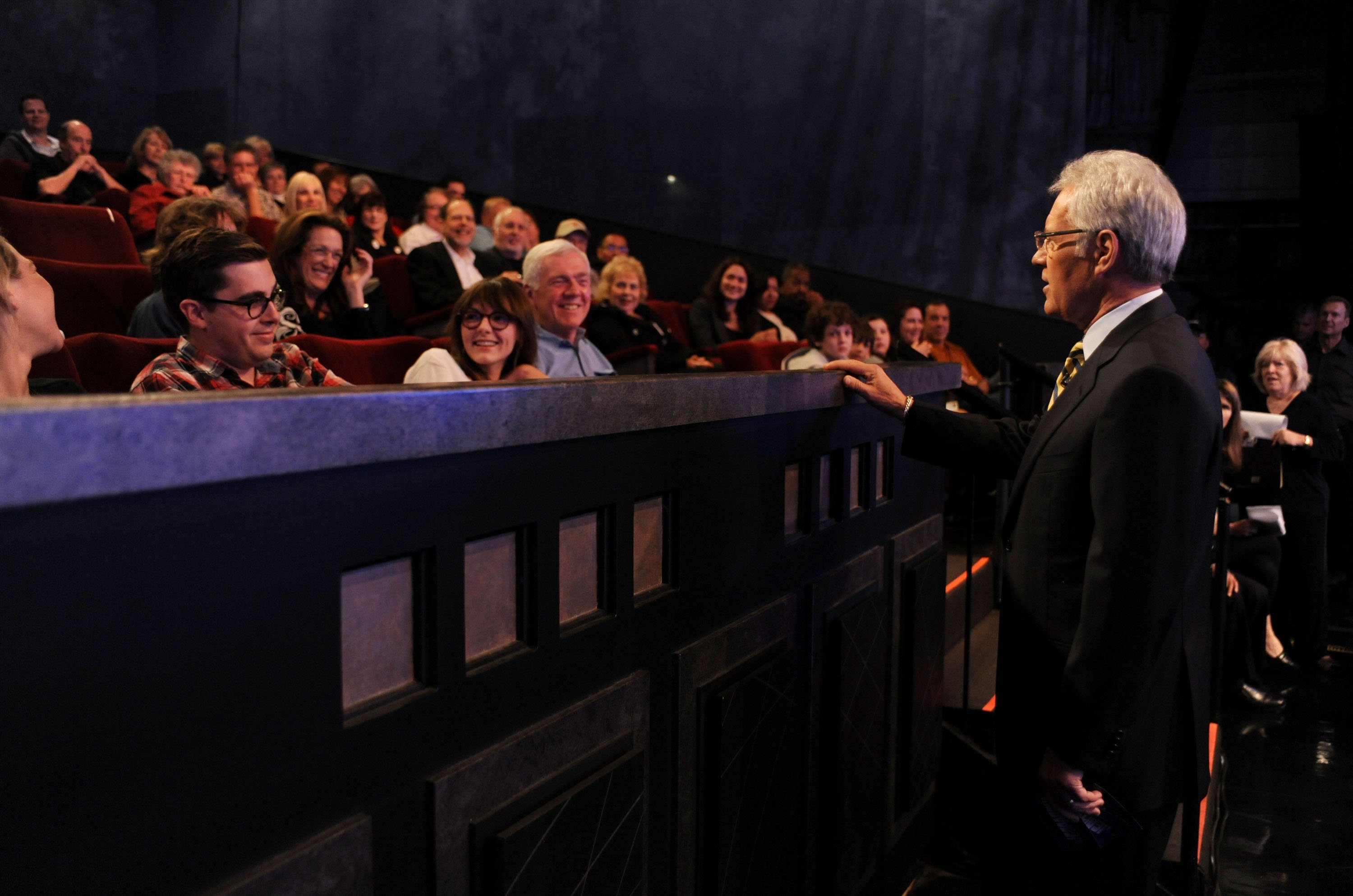 "Game show host Alex Trebek (R) interacts with the audience on the set of the ""Jeopardy!"" Million Dollar Celebrity Invitational Tournament Show Taping on April 17, 2010