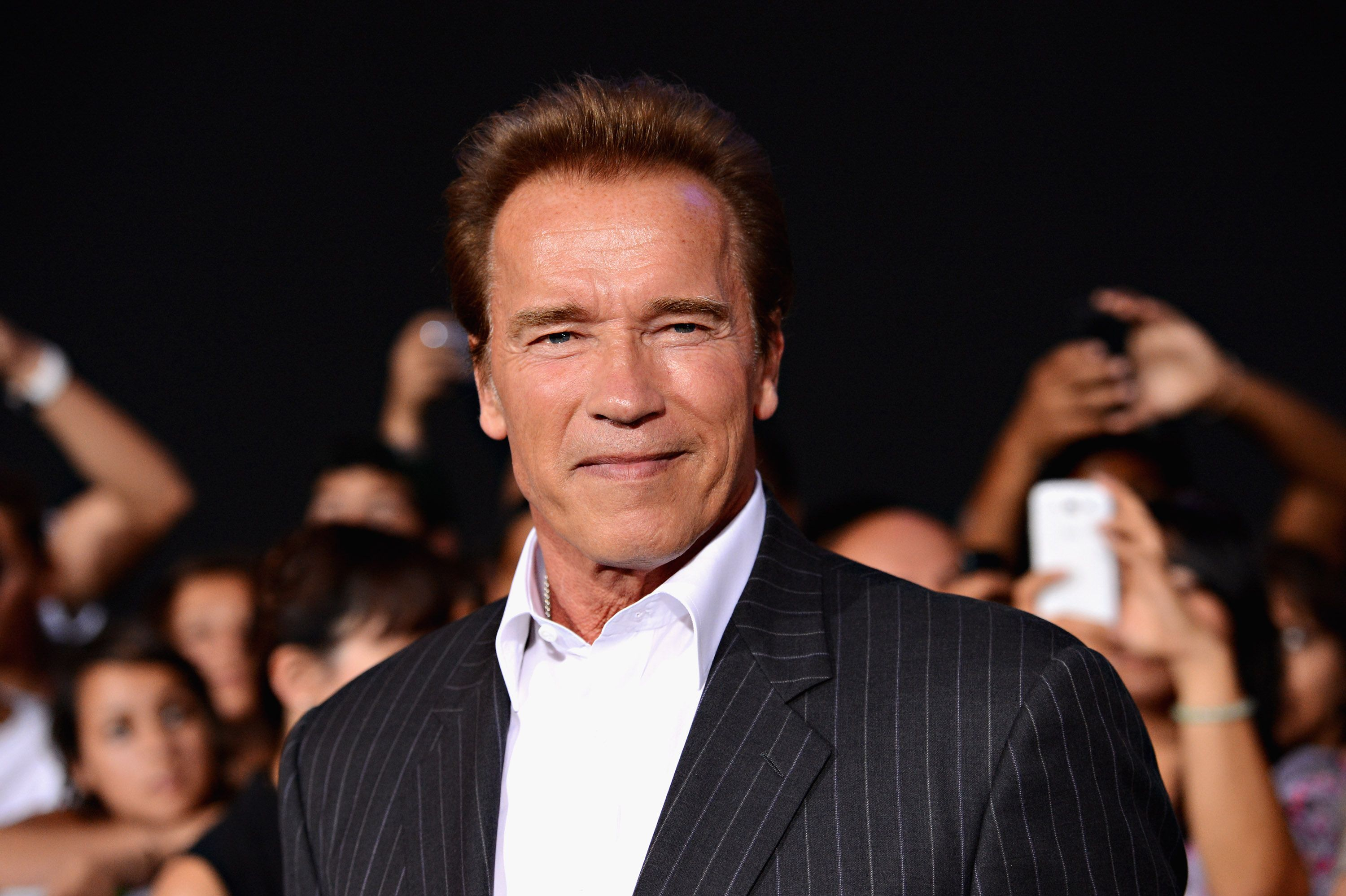 """Arnold Schwarzenegger arrives at Lionsgate Films' """"The Expendables 2"""" premiere on August 15, 2012, in Hollywood, California 