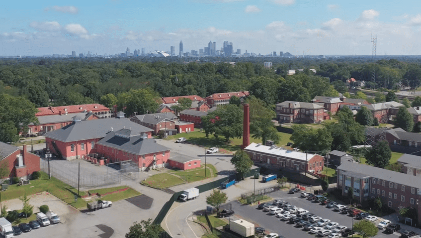 View of Tyler Perry Studios where the Historical buildings can be appreciated | Source: YouTube/Architectural Digest