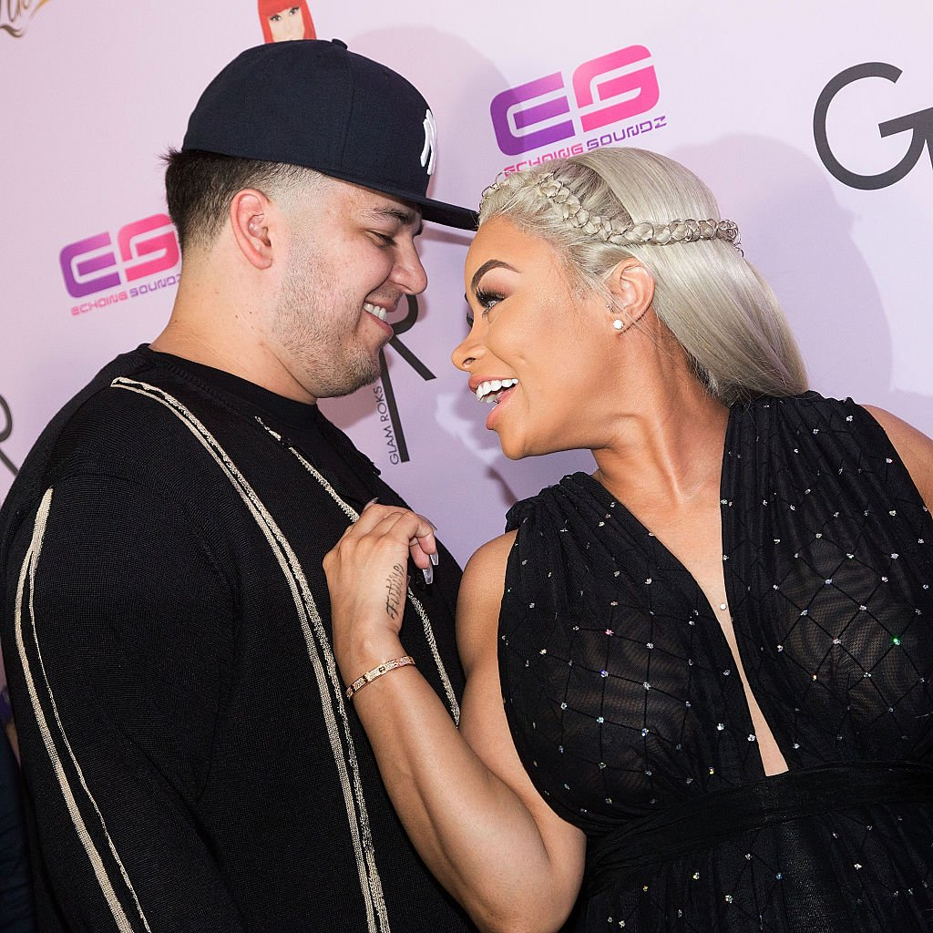 Blac Chyna and Rob Kardashian share a laugh as they arrived for her Blac Chyna's birthday celebration at the Hard Rock Café on May 10, 2016, in Hollywood, California | Source: Getty Images (Photo by Gabriel Olsen/WireImage)