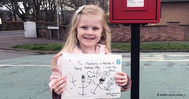 """Une fille de 4 ans a envoyé une lettre très gentille à sa mère décédée et obtient une réponse incroyable du """"paradis"""""""