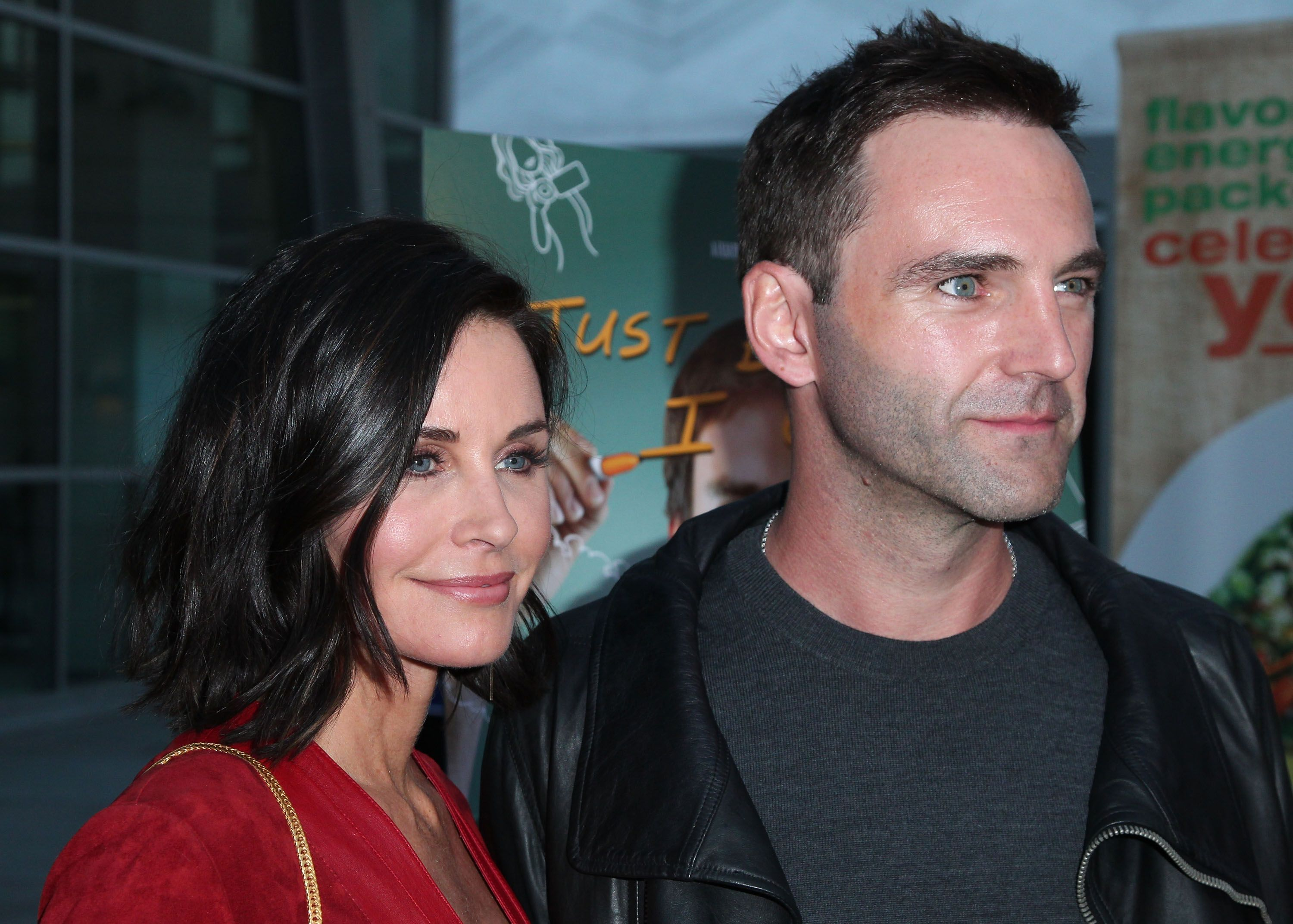 """Courteney Cox and Johnny McDaid at the premiere of """"Just Before I Go"""" in 2015 in Hollywood, California 