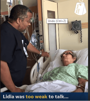 """Air Force Veteran Nurse courageously sings """"Be a Lion"""" to a woman sick with terminal cancer. 