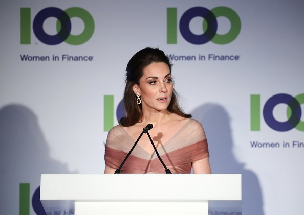 The Duchess Of Cambridge delivers a speech at the 100 Women In Finance Gala Dinner at the Victoria and Albert Museum on February 13, 2019, in London, England.| Photo: Getty Images