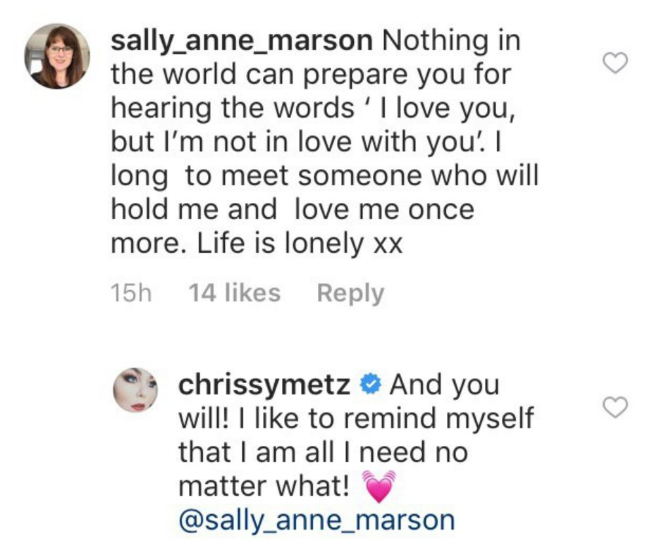 Instagram user comment and reply from Chrissy Metz | Photo: Instagram/ chrissymetz