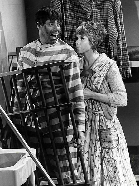 "Photo of Jerry Lewis and Judy Carne in a skit from his variety television program ""The Jerry Lewis Show."" 