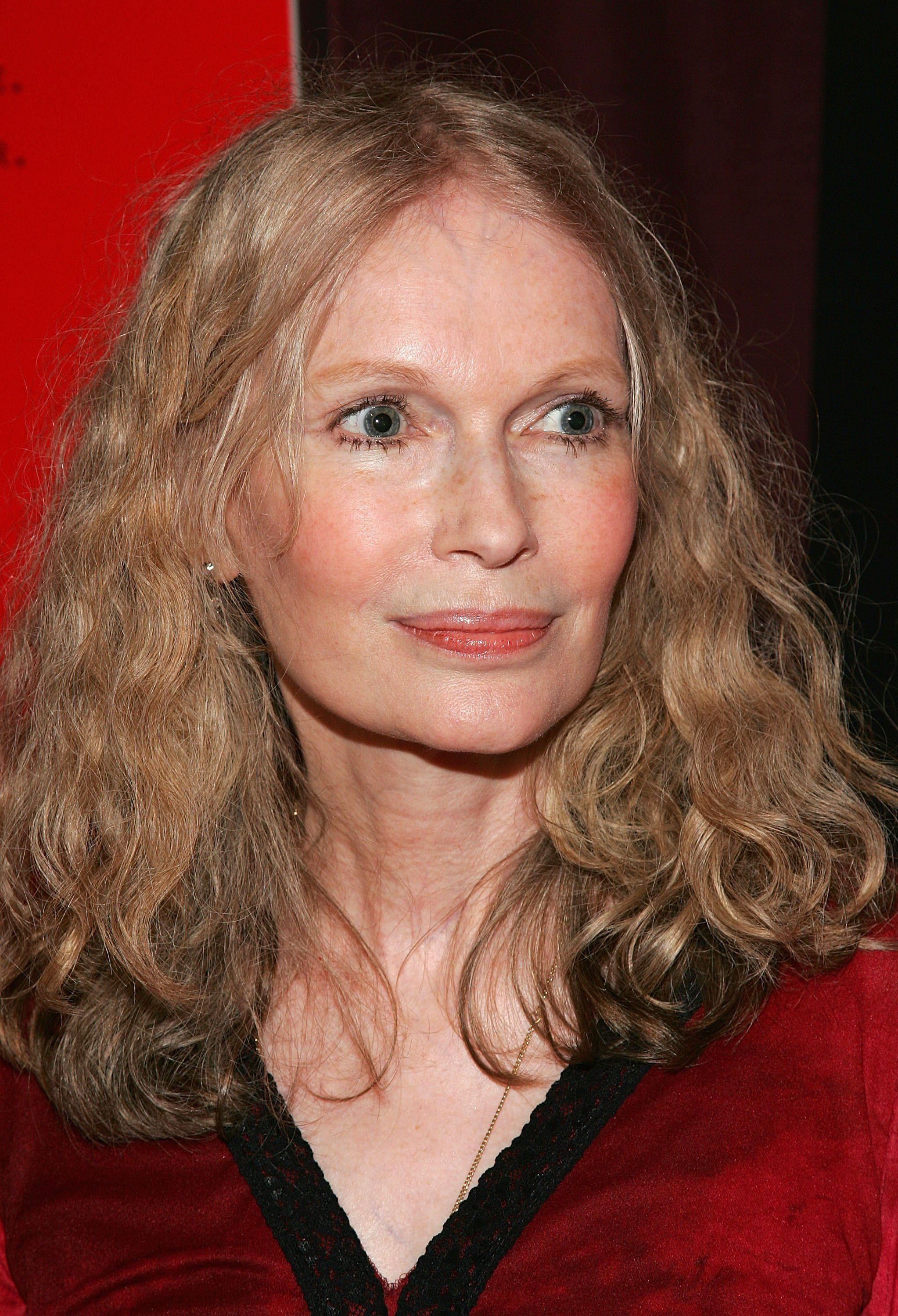 "Actress Mia Farrow arrives at a screening of ""The Omen"" presented by the Cinema Society and DKNY Jeans at the Angel Orensanz Foundation May 31, 2006 in New York City 