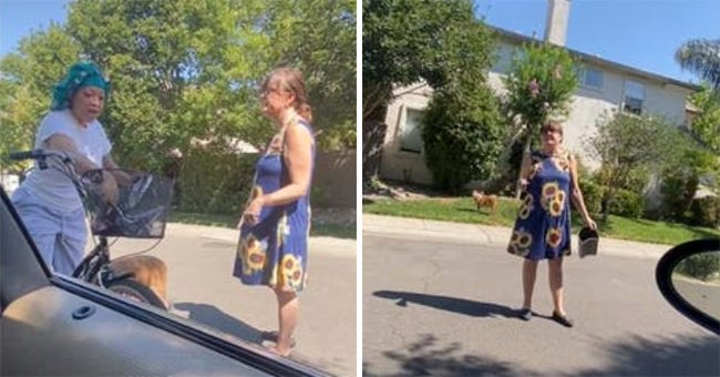 Ronnie Marie Paiva being approached by the woman walking her dog | Photo: Tiktok.com/prettii_tb