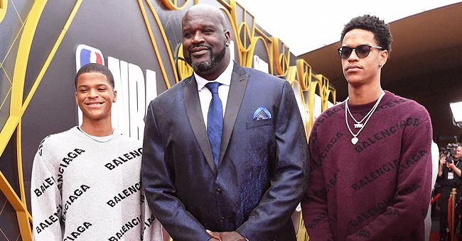 Proud Dad Shaquille O'Neal Poses with His Look-Alike Sons at NBA Awards