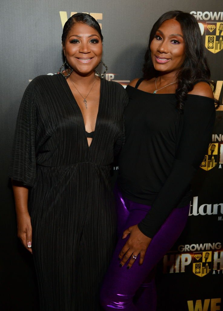 "Reality stars Trina and Towanda Braxton attend the ""Growing Up Hip Hop"" show's party at the Tongue & Groove in Atlanta, Georgia in October 2018. 