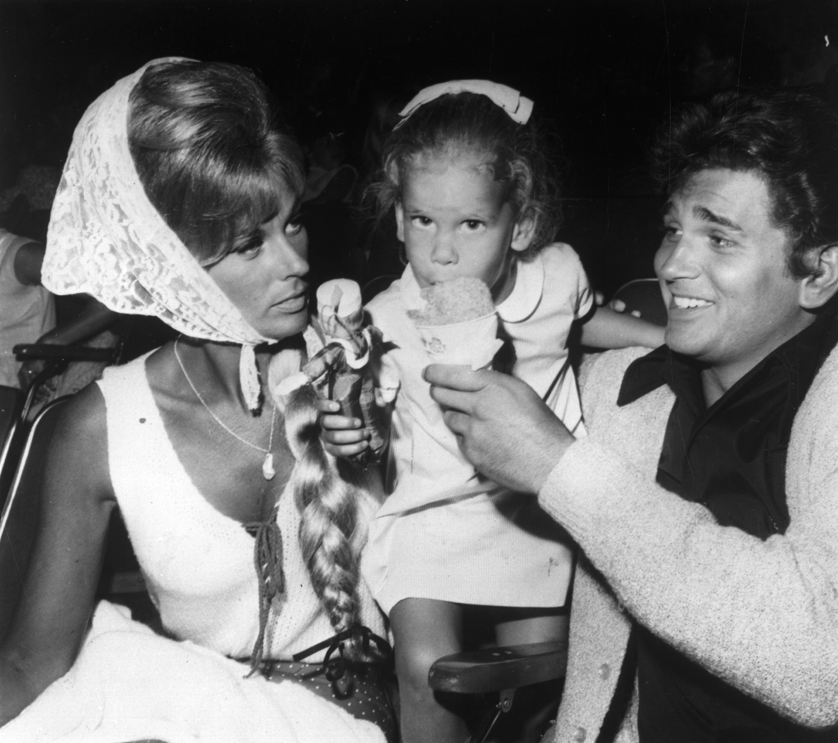 US actor, director and writer Michael Landon, who plays a leading role in the TV series 'Bonanza', with his wife Lynn and their young daughter in August 1965. | Source: Getty Images.