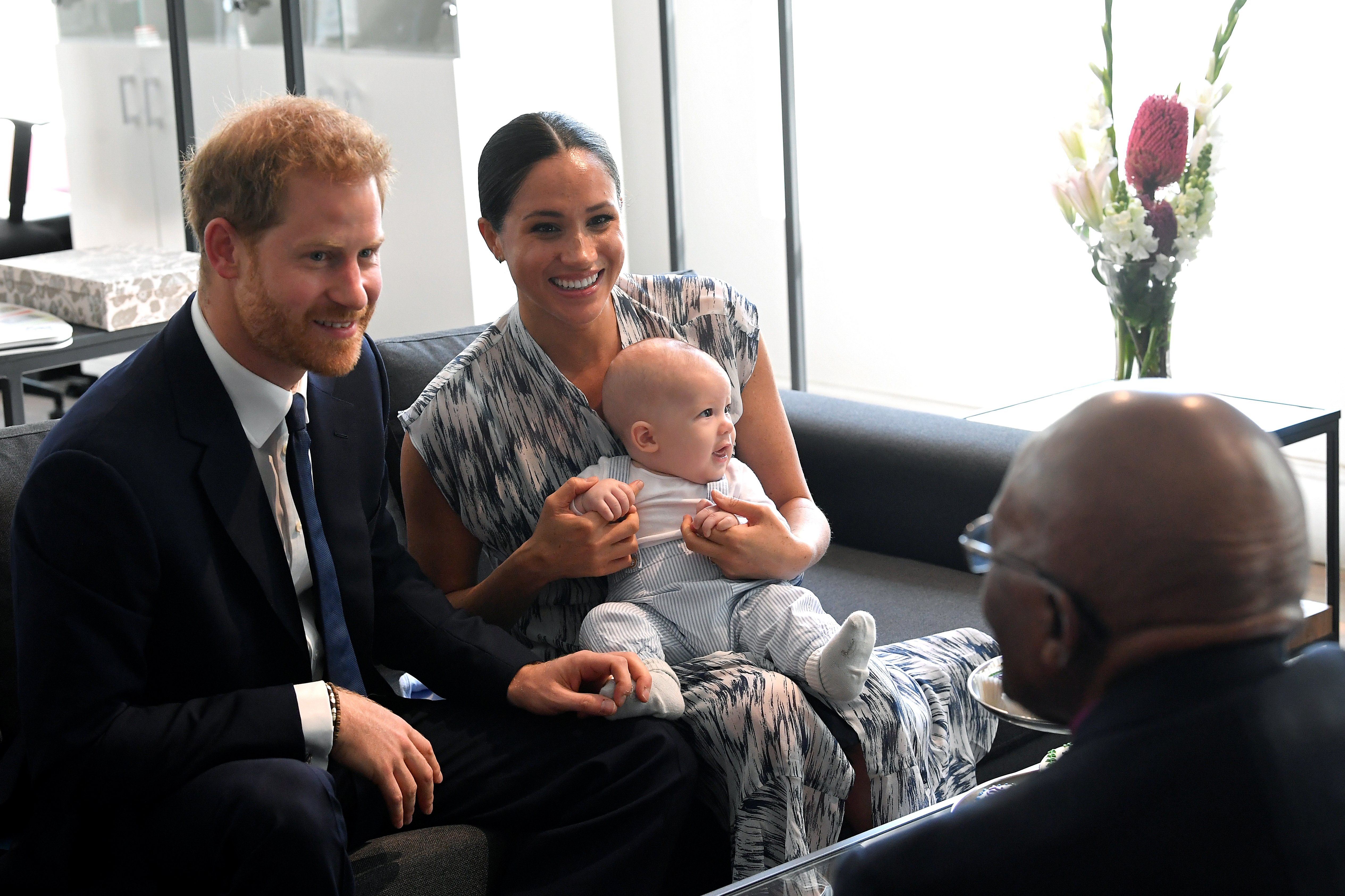Prince Harry, Meghan Markle, and their baby son Archie meet Archbishop Desmond Tutu during their royal tour of South Africa on September 25, 2019 | Photo: GettyImages