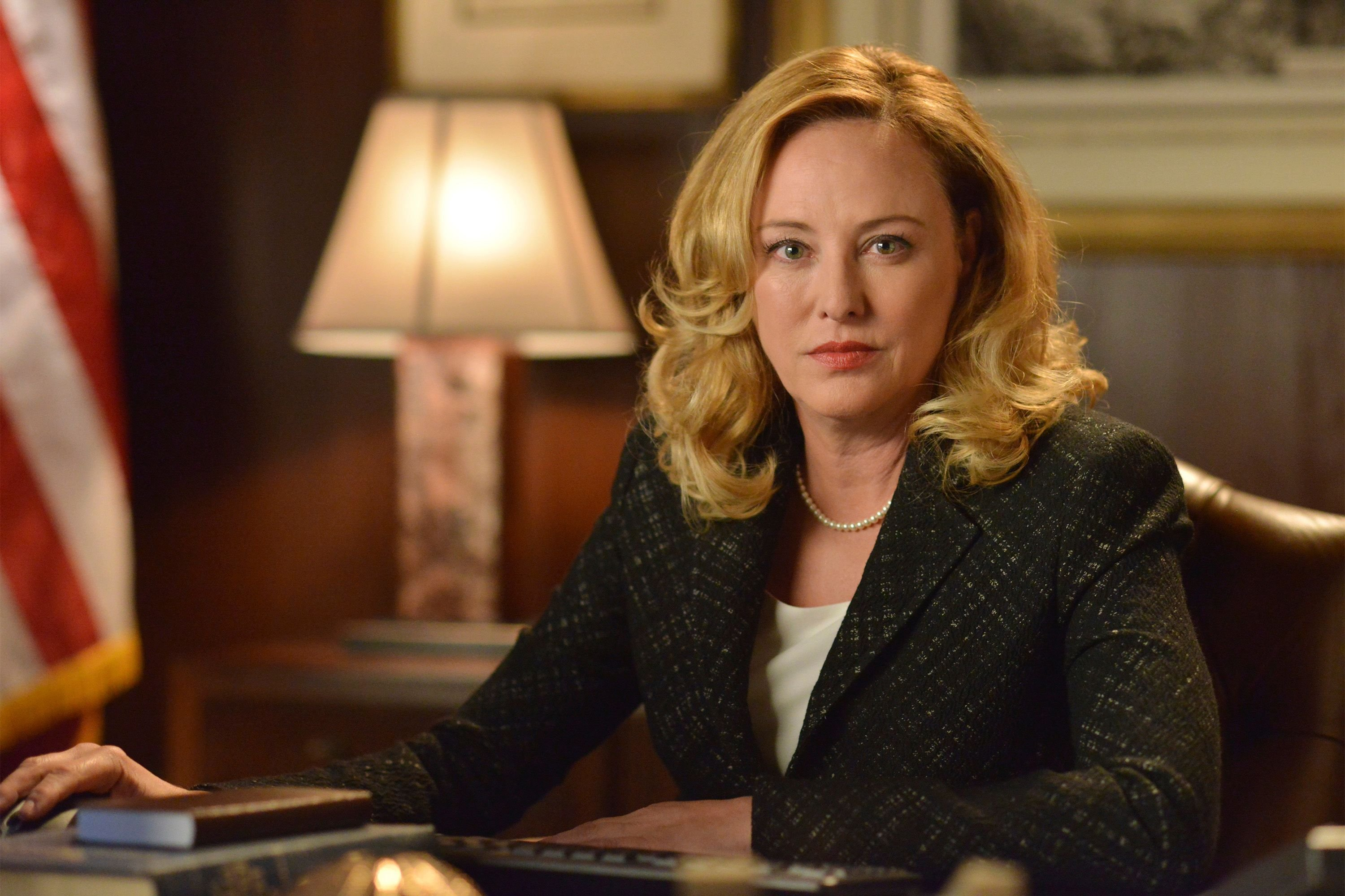 "Virginia Madsen on the set of  ""Designated Survivor"" in 2015 