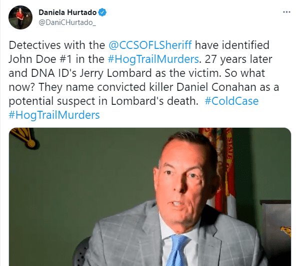 A Charlotte County Department detective discussed how they've identified John Doe #1 in the Hog Trail Murders on June 9, 2021 | Photo: Twitter/@DaniCHurtado_