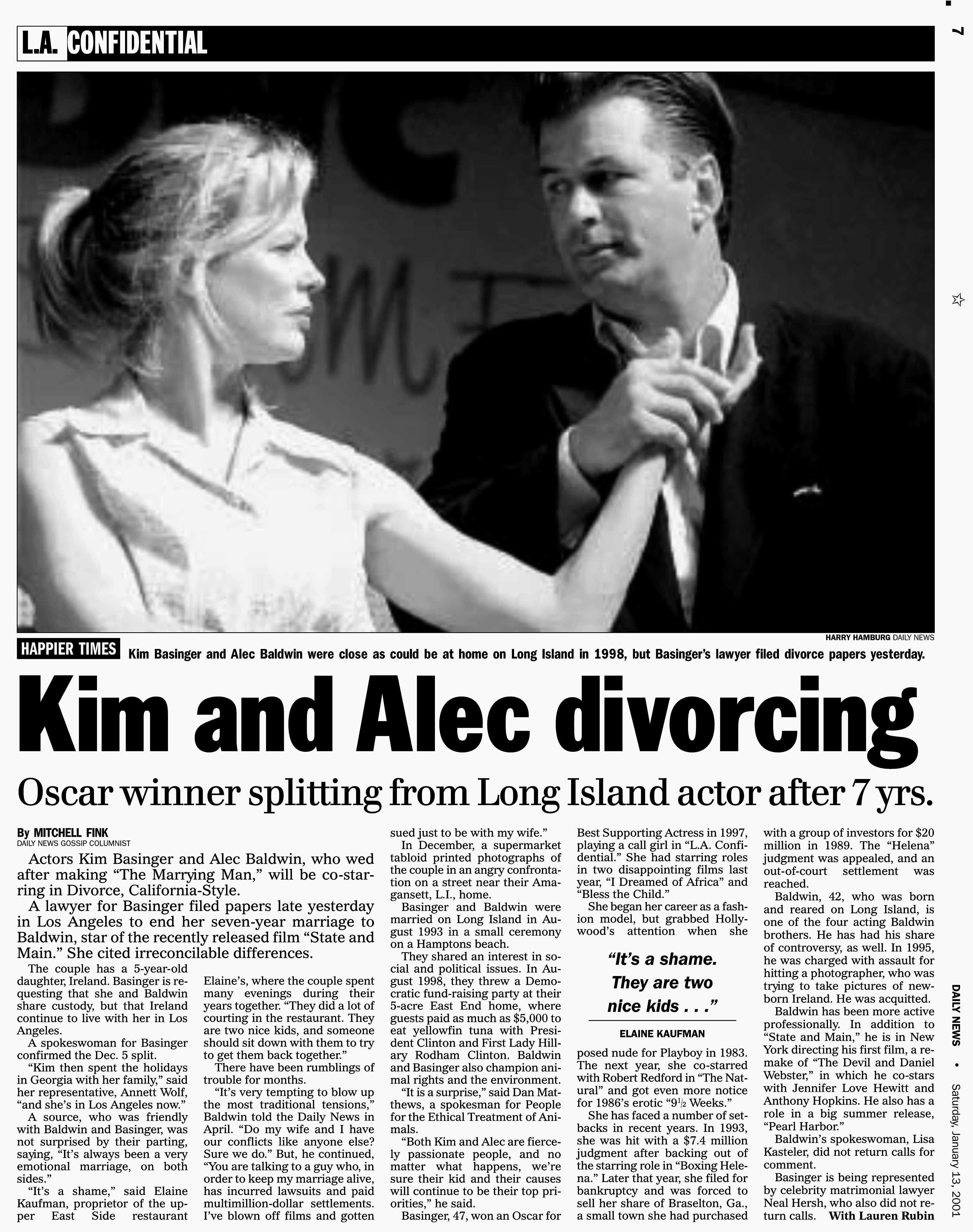 Headline: Kim Basinger and Alec Baldwin  divorcing -- Daily News page 7, January 13, 2001   Source: Getty Images