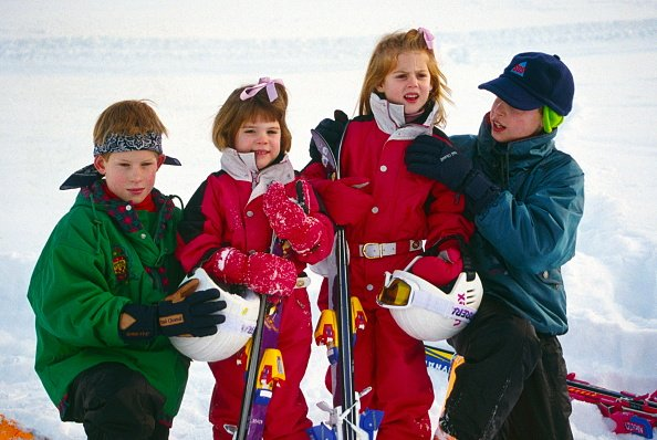 Prince William, Princess Eugenie, Prince Harry, and Princess Beatrice in Klosters, Switzerland. Image created on January 3, 1995. | Photo: Getty Images