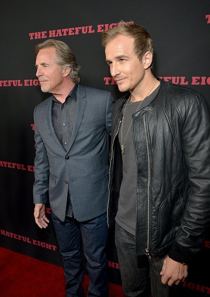 """Don Johnson (L) and Jesse Johnson attend the world premiere of """"The Hateful Eight"""" presented by The Weinstein Company at ArcLight Cinemas Cinerama Dome on December 7, 2015, in Hollywood, California. 