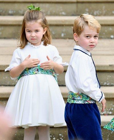 La princesa Charlotte y el príncipe George en la boda de la princesa Eugenie en la capilla de San Jorge el 12 de octubre de 2018 en Windsor, Inglaterra. | Foto: Getty Images
