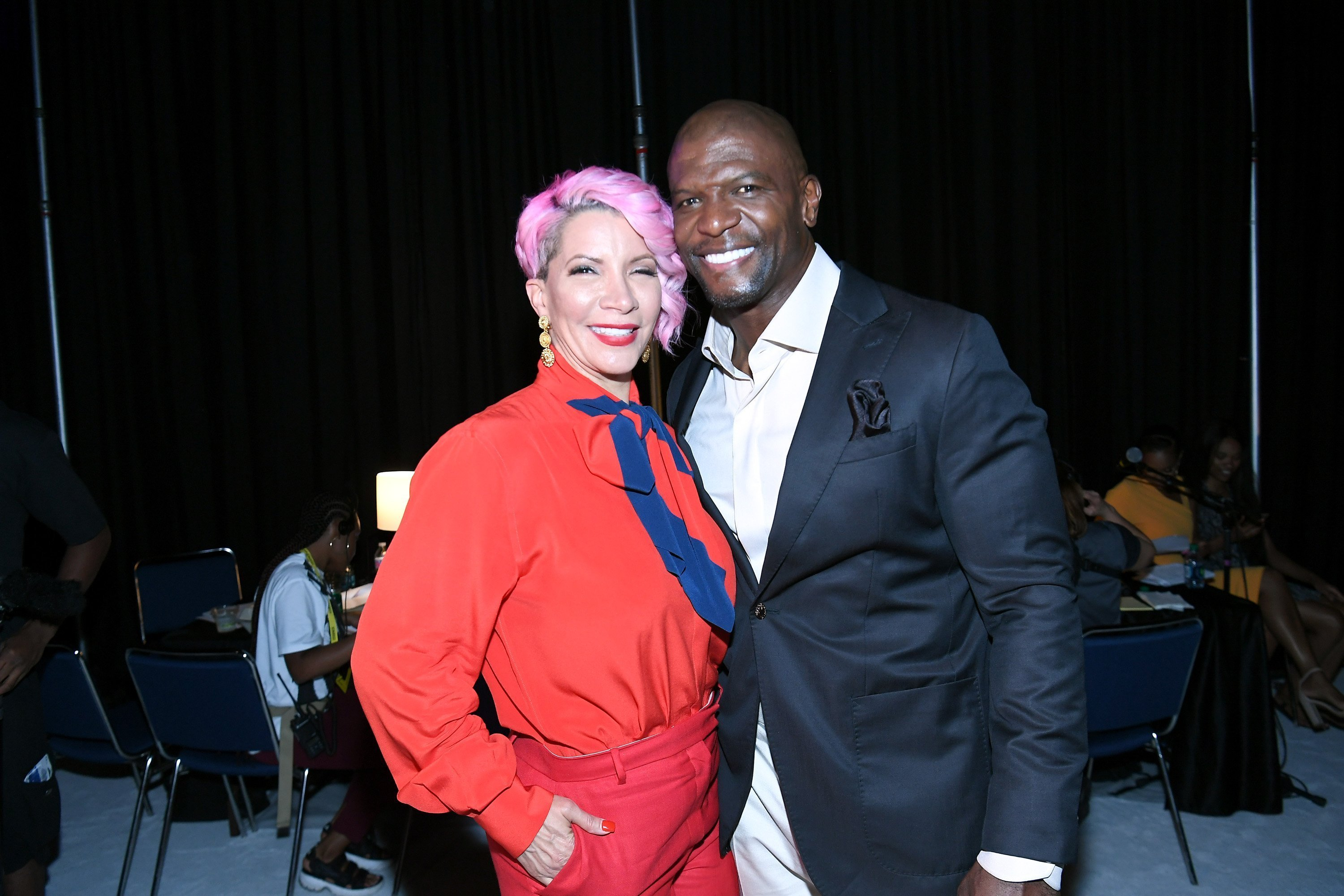 Rebecca King-Crews and Terry Crews backstage during 2019 ESSENCE Festival on July 05, 2019 | Photo: GettyImages