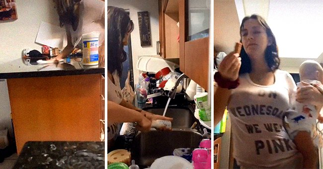 Three different pictures of stay-a-home mother Sierra Nicole involved in her daily routine. | Source: tiktok.com/sierra_not_ciara