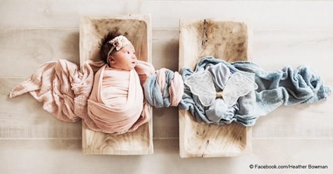 """Mamá comparte conmovedora foto del """"gemelo ángel"""" de su bebita, que perdió antes de nacer"""