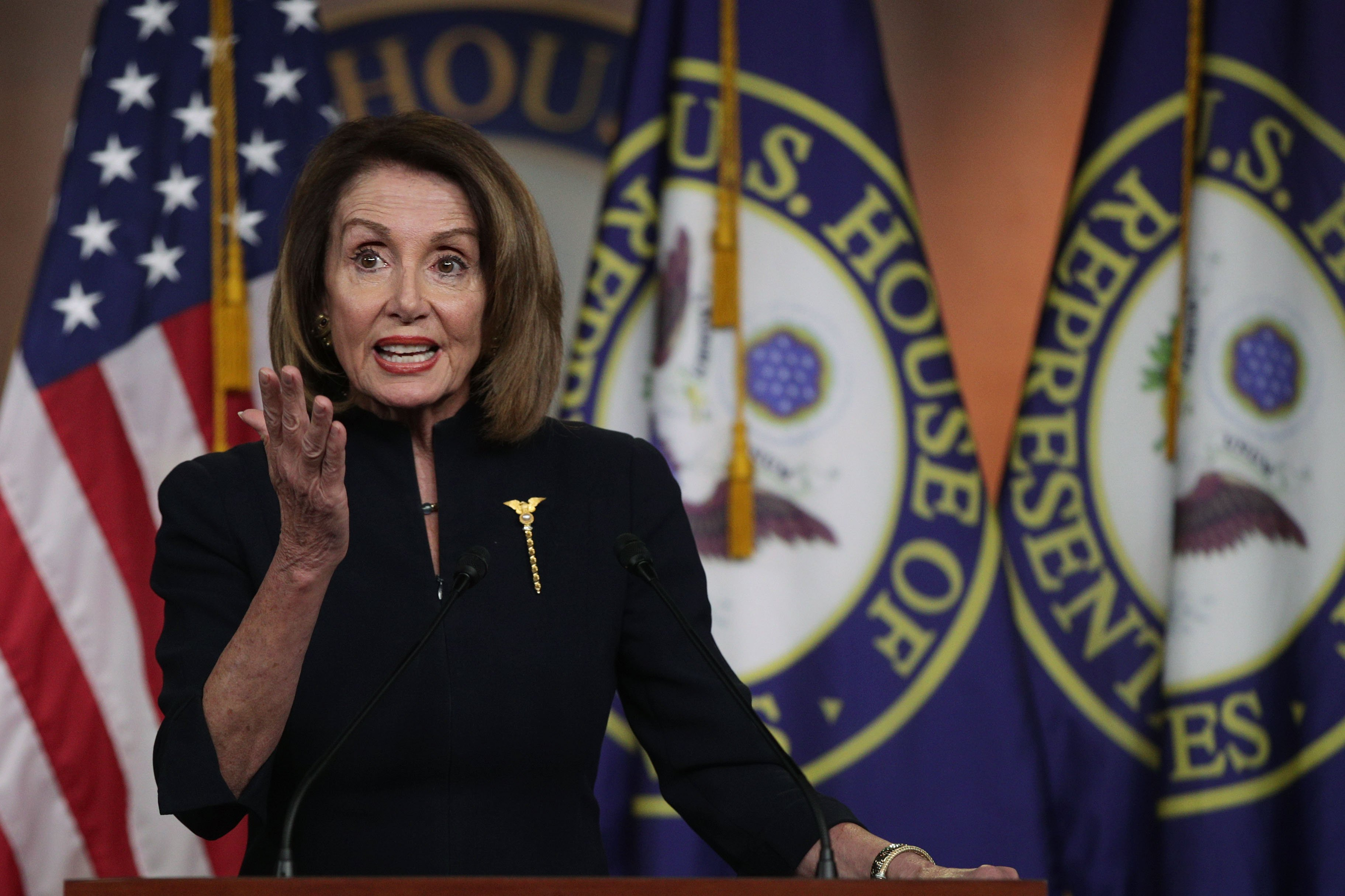 Speaker of the House Nancy Pelosi at a Weekly Press Conference | Photo: Getty Images