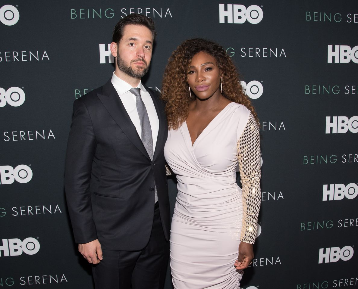 """Serena Williams (R) and husband Alexis Ohanian attend the """"Being Serena"""" New York Premiere at Time Warner Center on April 25, 2018 in New York City. 