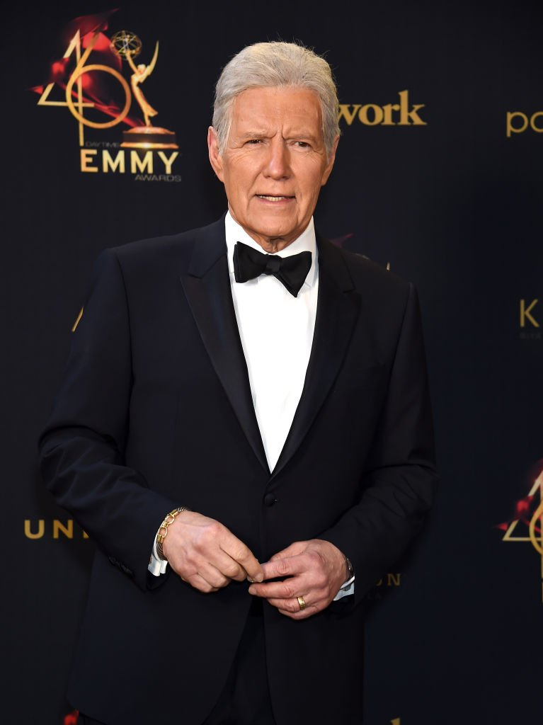 Alex Trebek  poses on the red carpet during the 46th annual Daytime Emmy Awards. | Source: Getty Images
