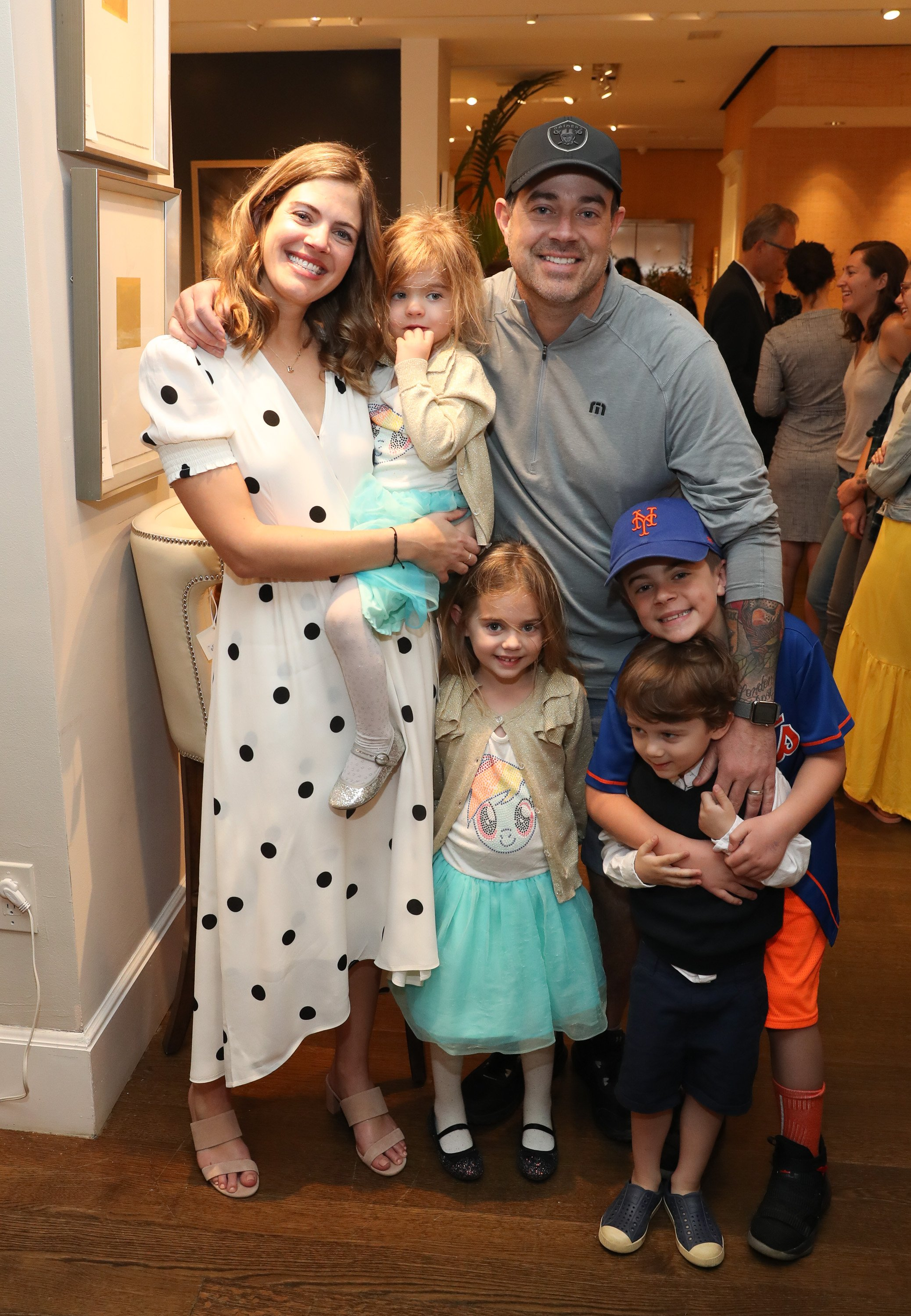 "Siri Daly (L) and Carson Daly, and family, attend ""Siriously Delicious"" by Siri Daly book launch event at Williams Sonoma Columbus Circle on April 14, 2018, in New York City. 
