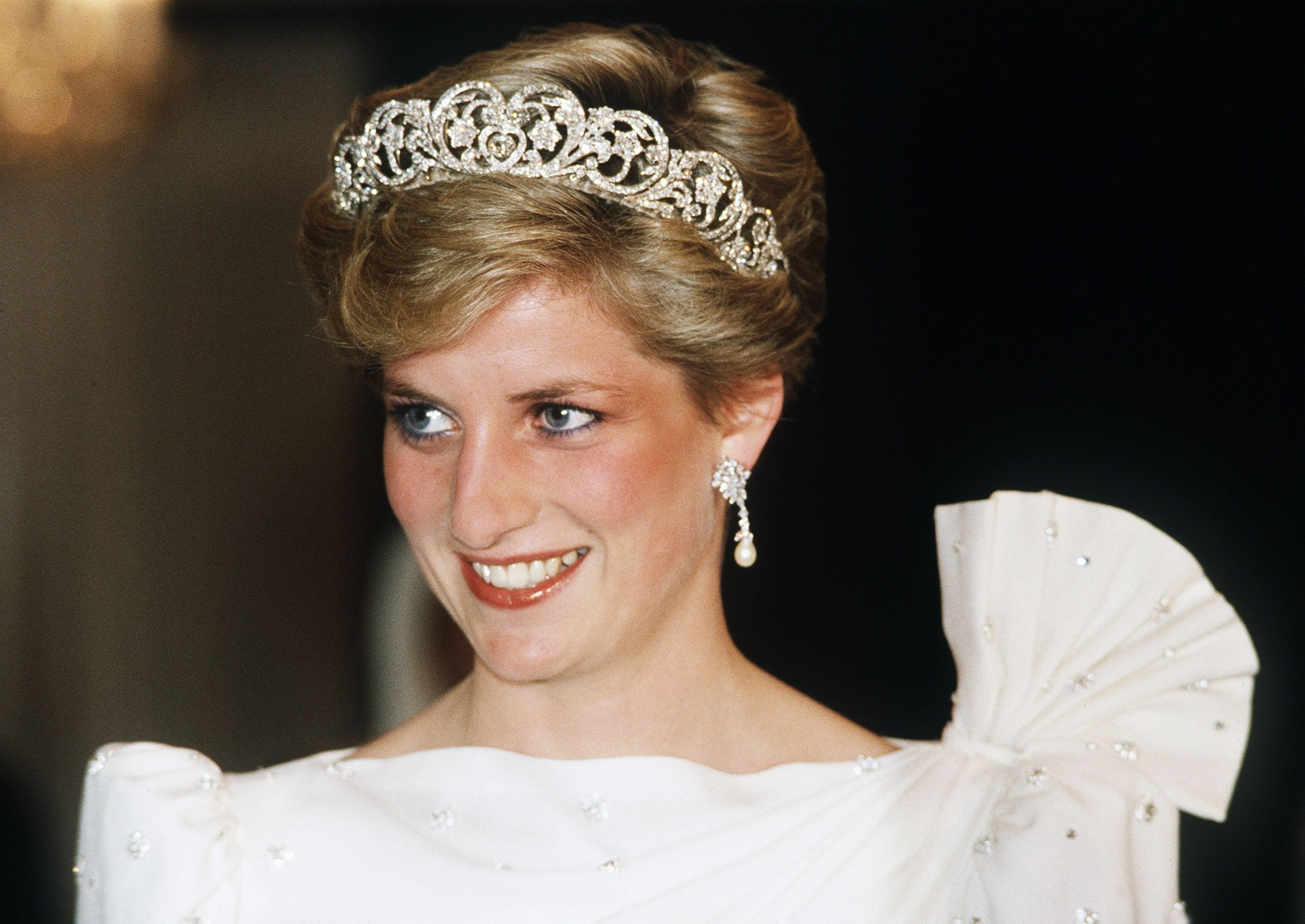 Princess Diana at a State Banquet on November 16, 1986.   Photo: Getty Images