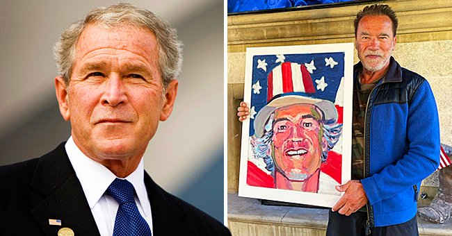 Arnold Schwarzenegger Proudly Shows off His Custom Portrait Painted by President George W Bush