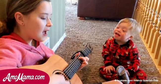 Poor little boy with Down syndrome can barely talk. But wait until his sister starts to sing