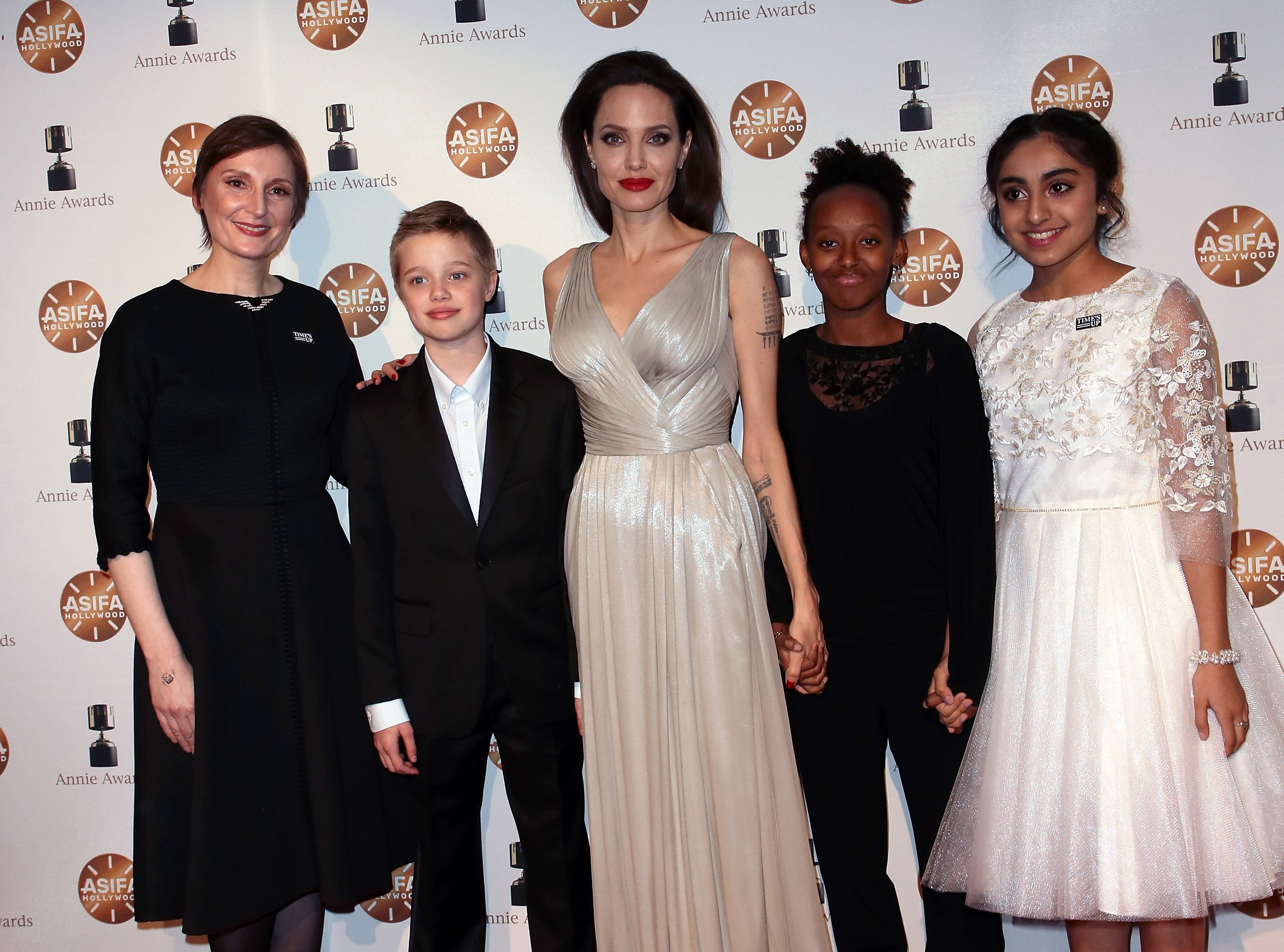 Director Nora Twomey, Shiloh Nouvel Jolie-Pitt, Angelina Jolie, Zahara Marley Jolie-Pitt and actress Saara Chaudry attend the 45th Annual Annie Awards in Los Angeles, California on February 3, 2018 | Photo: Getty Images