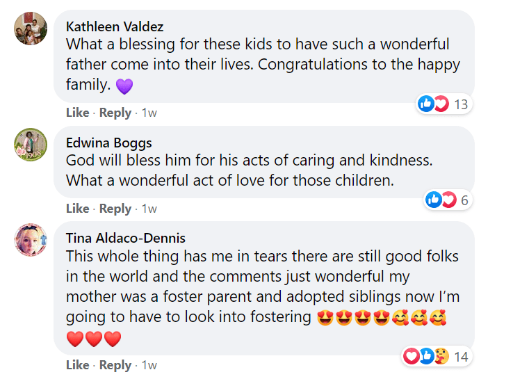 Many people took to the comment section of a post by Hamilton County JFS Adoption & Foster Care Recruitment on October 30, 2020 to praise Robert Carter. | Photo: Facebook/@hcadopt