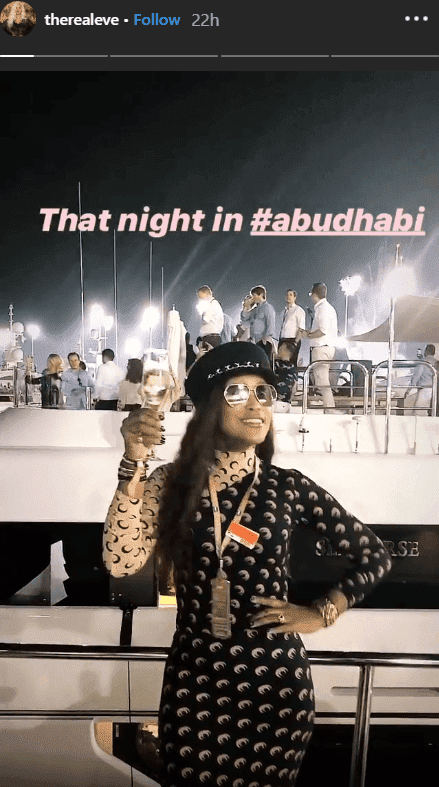 Screenshot of Eve posing atop a yacht in Abu Dhabi | Photo: Instagram/therealeve
