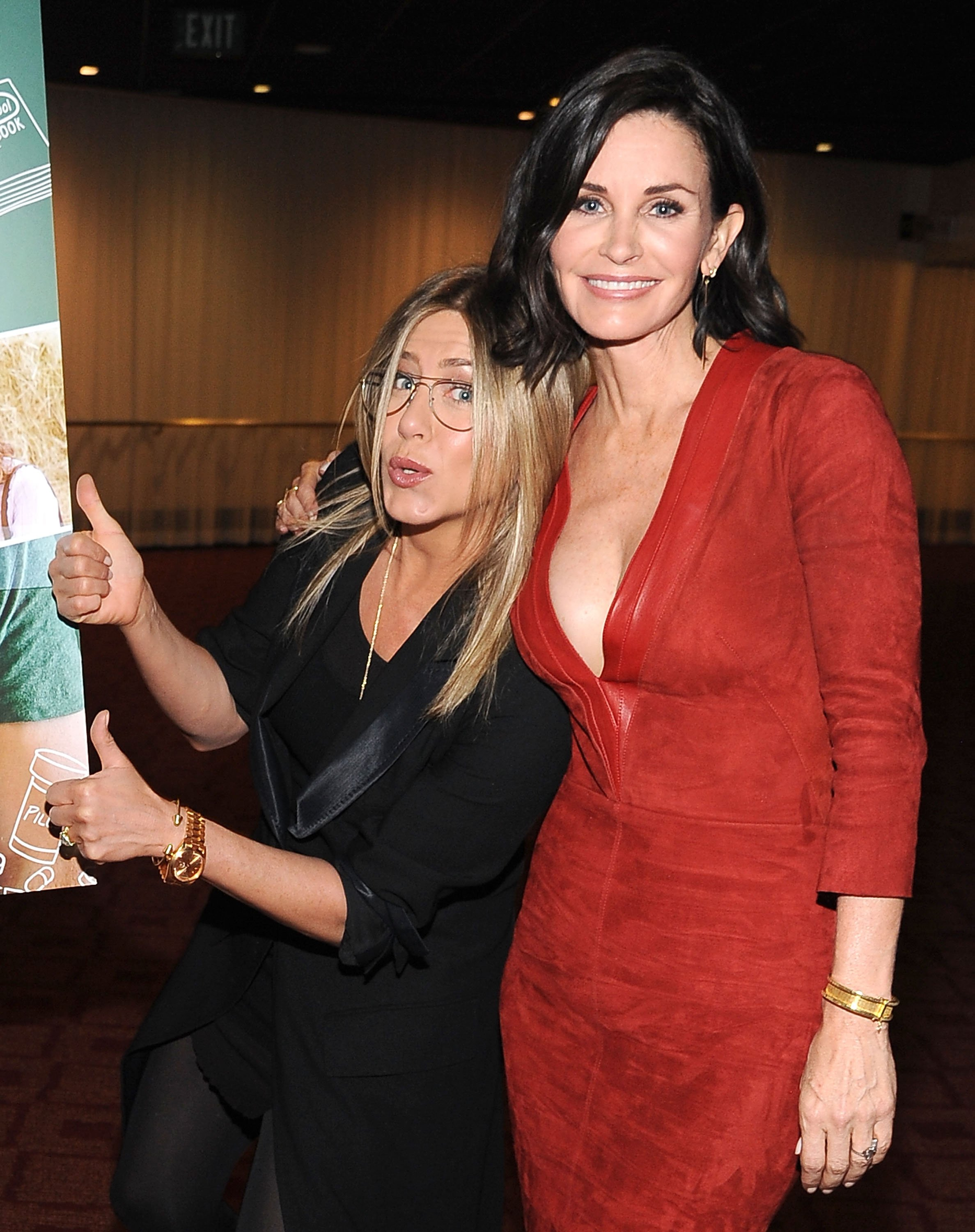 """Jennifer Aniston and director Courteney Cox attend the Los Angeles Special Screening of """"Just Before I Go"""" at ArcLight Hollywood on April 20, 2015 in Hollywood, California.   Source: Getty Images"""