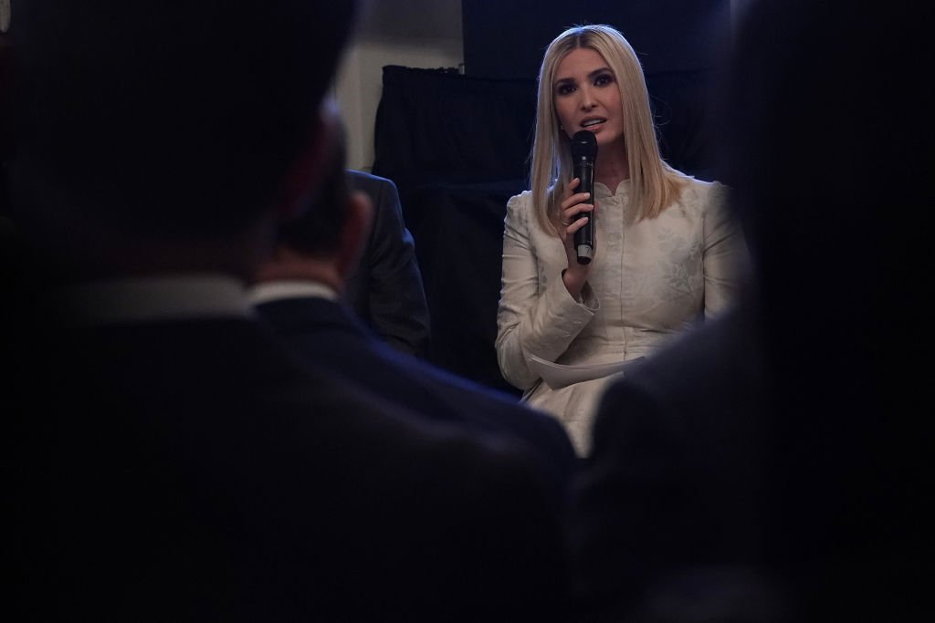 "Advisor to the President and first daughter Ivanka Trump speaks during a State Dining Room event to mark the one year anniversary of the ""Pledge to America's Workers"" at the White House in Washington, DC 