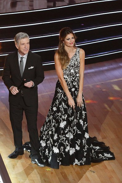 "Erin Andrews and Tom Bergeron at ""Dancing with the Stars"" Season 28 Finale at CBS Television City on November 25, 2019 in Los Angeles, California"