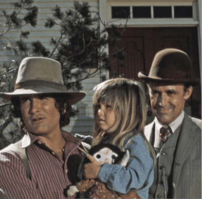 """Michael Landon as Charles Philip Ingalls, Lindsay/Sidney Greenbush as Carrie Ingalls, Richard Bull as Nelson """"Nels"""" Oleson on """"Little House on the Prairie""""   Source: Getty Images"""