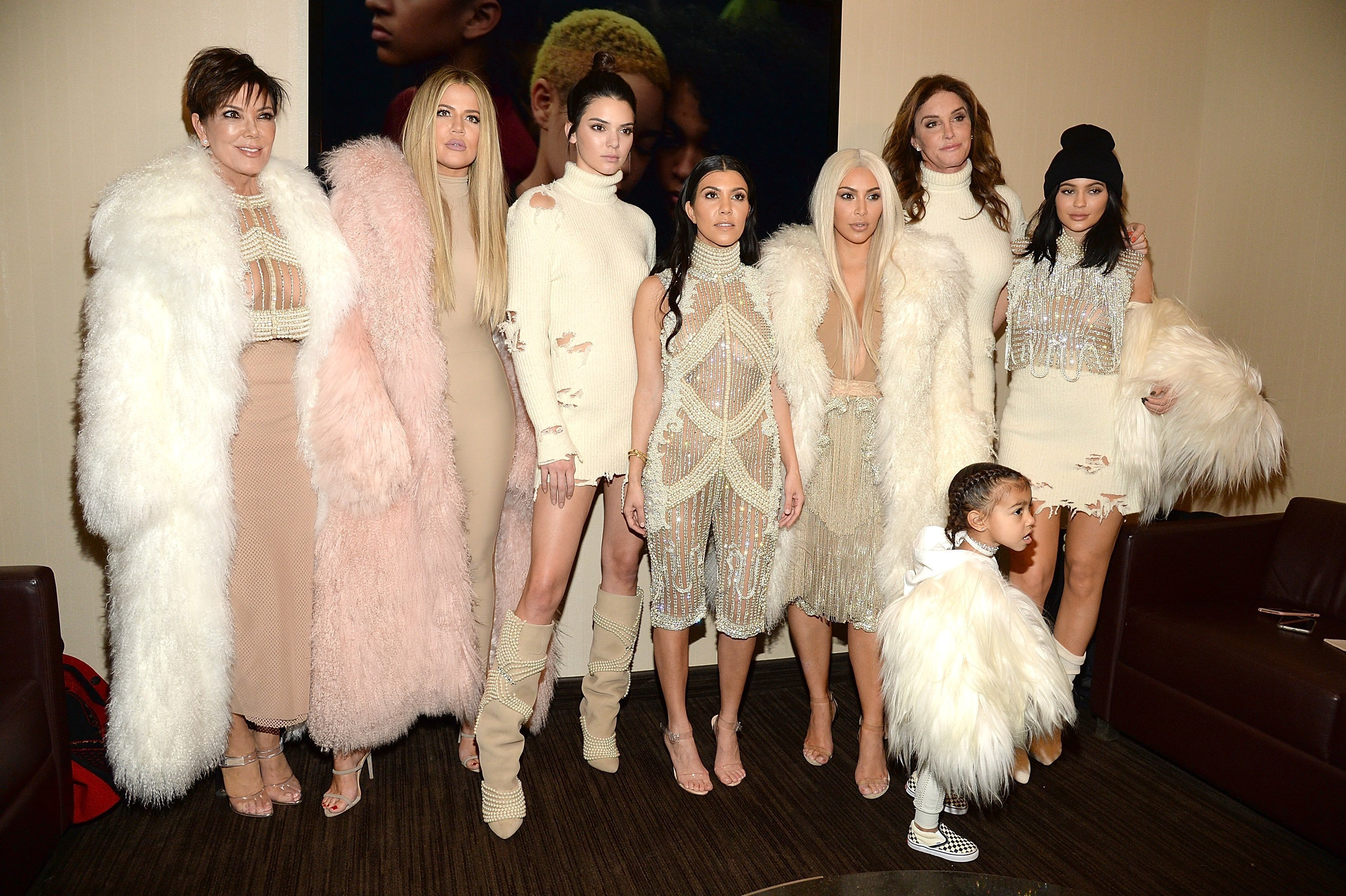 Kris Jennner, Khloe Kardashian, Kendall Jenner, Kourtney Kardashian, Kim Kardashian and daughter North West, Caitlyn Jenner and Kylie Jenner at Kanye West Yeezy Season 3 on February 11, 2016 l Source: Getty Images