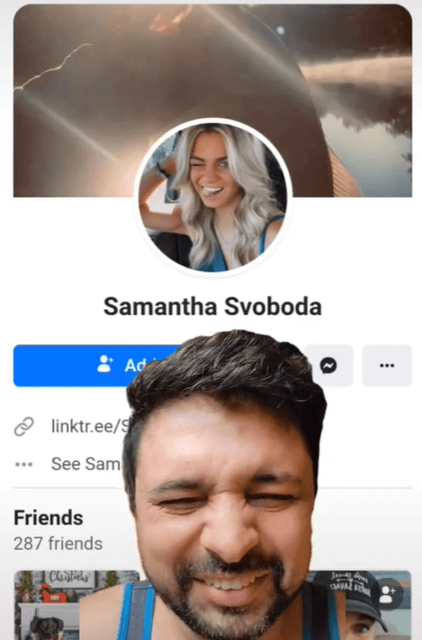 Danesh laughing in front of a snapshot of Samantha Svoboda's allegedly official Facebook account. │Source: tiktok.com/thatdaneshguy