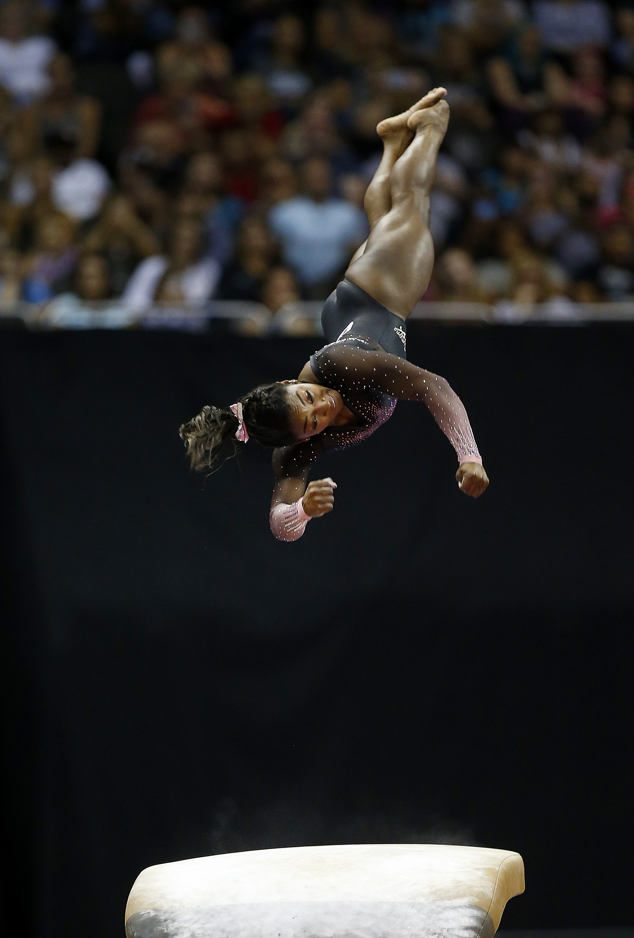 Simone Biles competes on the vault during the Women's Senior competition of the 2019 U.S. Gymnastics Championships at the Sprint Center on August 11, 2019 in Kansas City, Missouri   Photo: Getty Images
