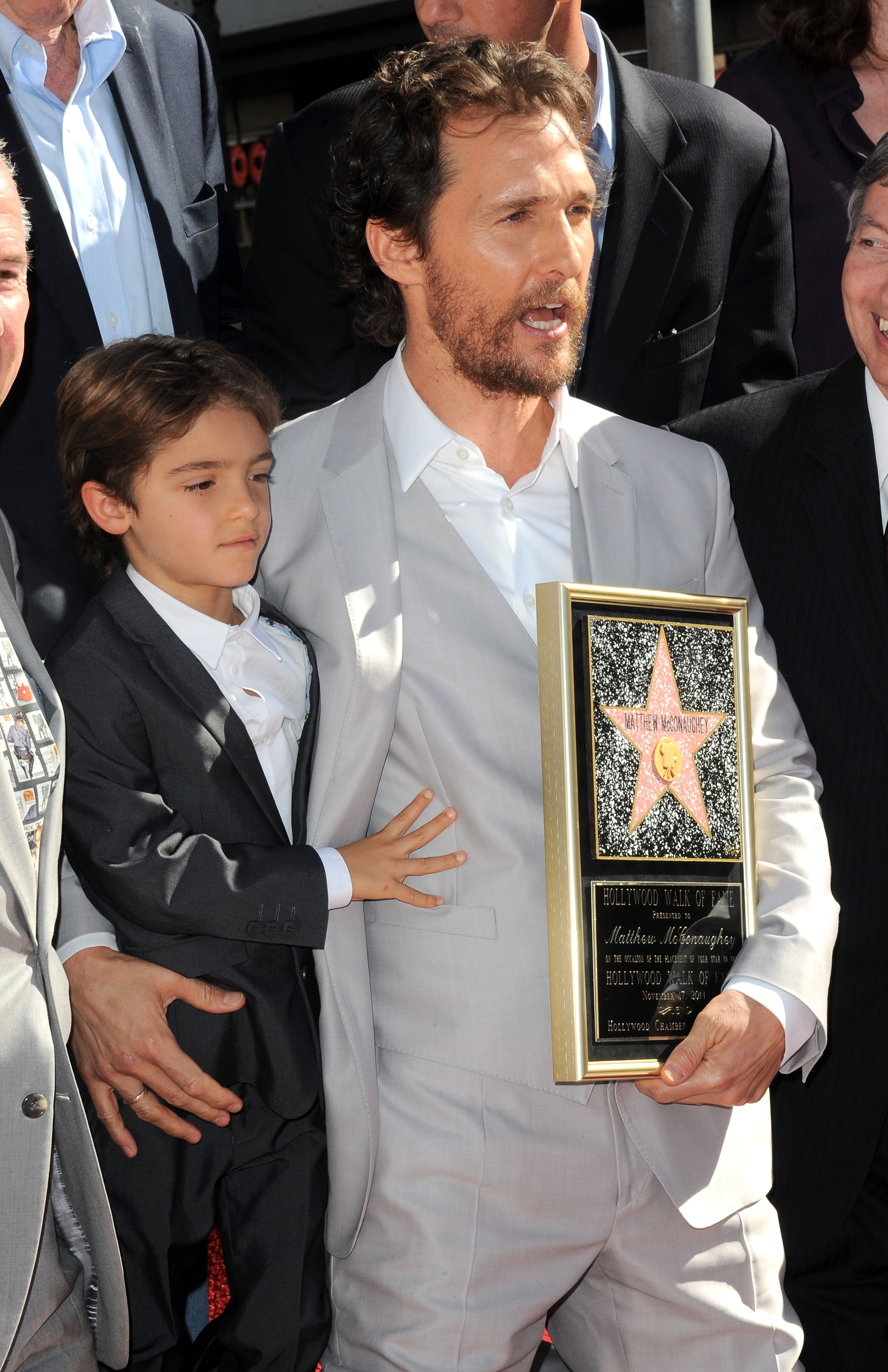 Matthew McConnaughey and son Levi at Matthew McConaughey's Star ceremony On The Hollywood Walk Of Fame on November 17, 2014 in Hollywood, California. | Source: Getty Images