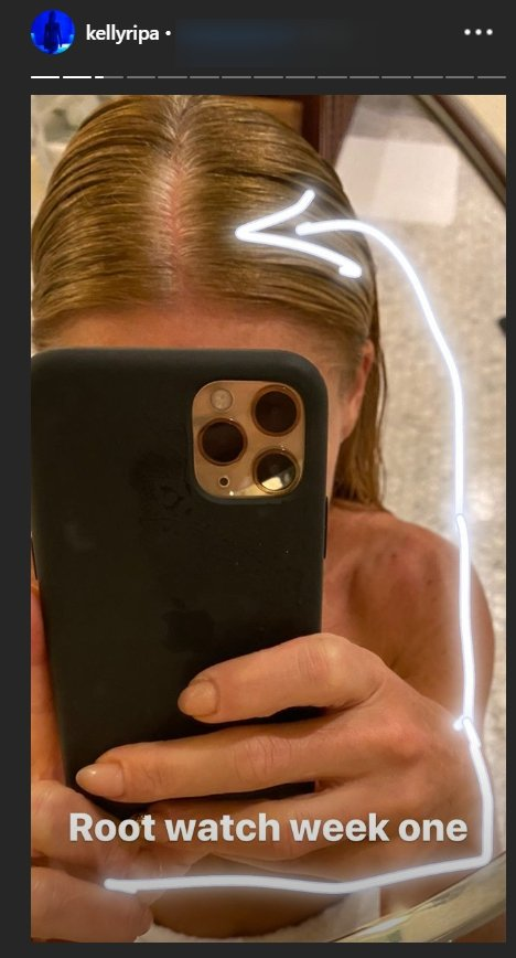 Kelly Ripa points out her gray roots in a mirror selfie on social media amid coronavirus pandemic. | Source: InstagramStories/kellyripa.