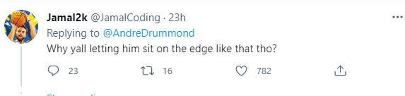 A comment on basketball star Andre Drummond's viral post | Photo: Twitter/AndreDrummond