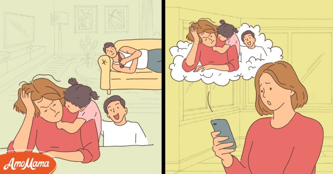 Woman is annoyed with her stepchildren and lazy husband | Photo: Amomama