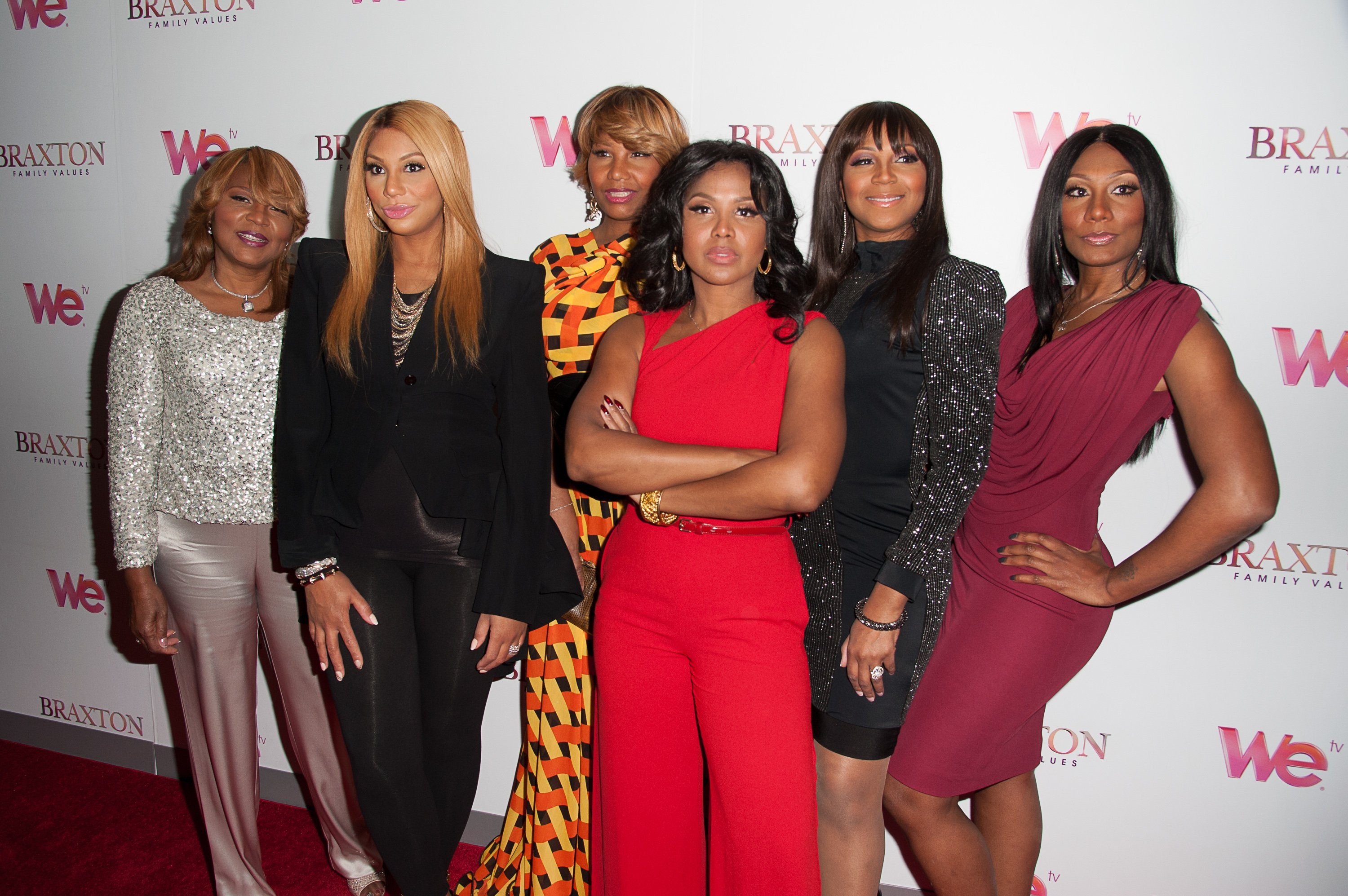 "Evelyn Braxton, Tamar Braxton, Traci Braxton, Toni Braxton, Trina braxton and Towanda Braxton at the ""Braxton Family Values"" Season Three premiere on March 13, 2013 l Source: Getty Images"